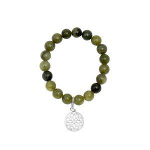 Connemara Marble stretch bracelet with Celtic Knot charm