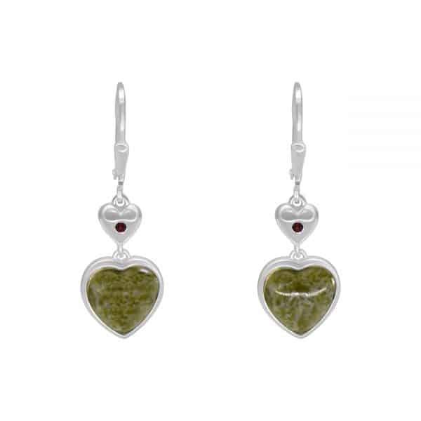 Connemara Marble Silver Heart Earrings