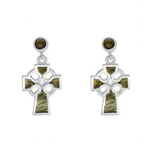 Connemara Marble Sterling Silver Celtic Cross earrings 10904