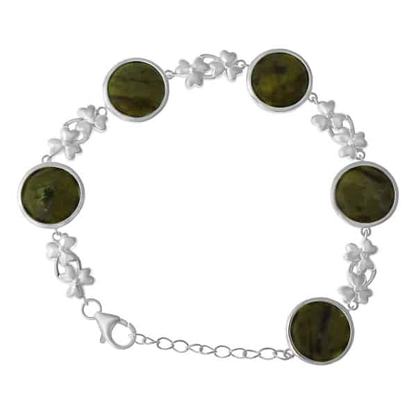 Irish Bracelet - Connemara Marble stones encased in sterling silver rails