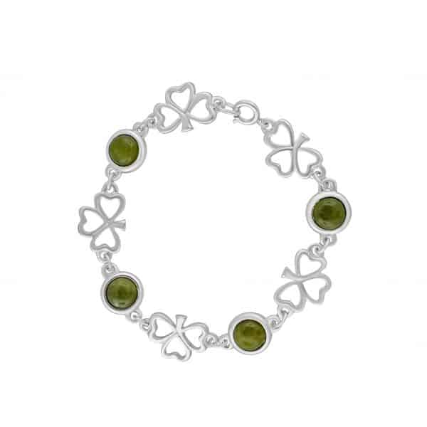 Shamrock Link Connemara Marble Bracelet