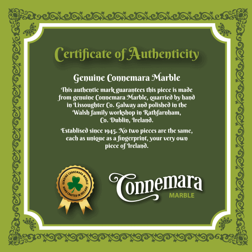 Connemara Marble Certificate of authentication