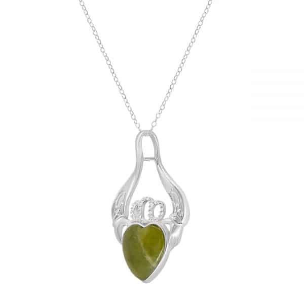 Irish Claddagh Silver Pendants - Sterling Silver and Connemara marble