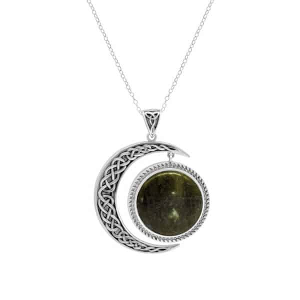 Sun and Moon Pendant- Sterling Silver and Connemara marble