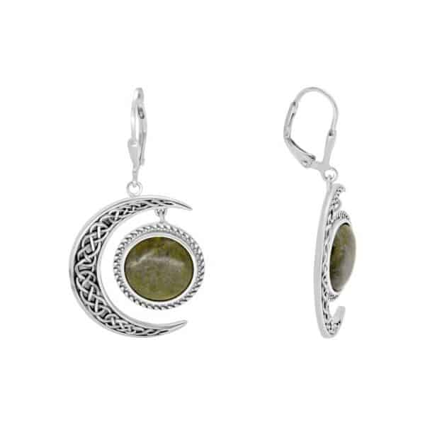 Sun and Moon Earrings - Sterling Silver and Connemara marble