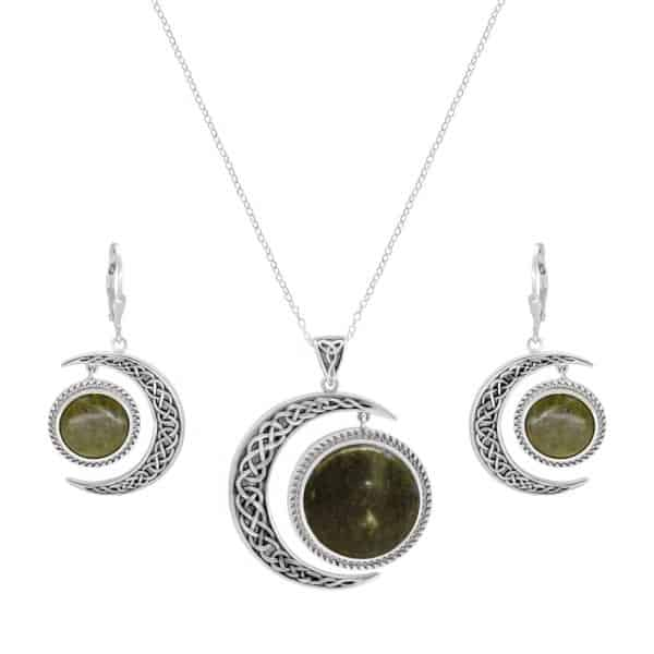 Sun and Moon Pendant with Earrings - Sterling Silver and Connemara marble