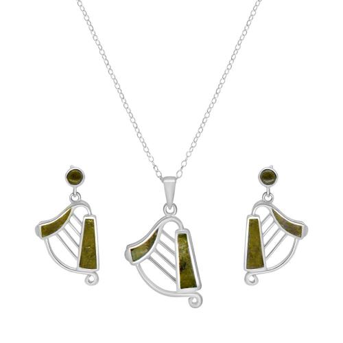 Irish Harp Pendant with Earrings