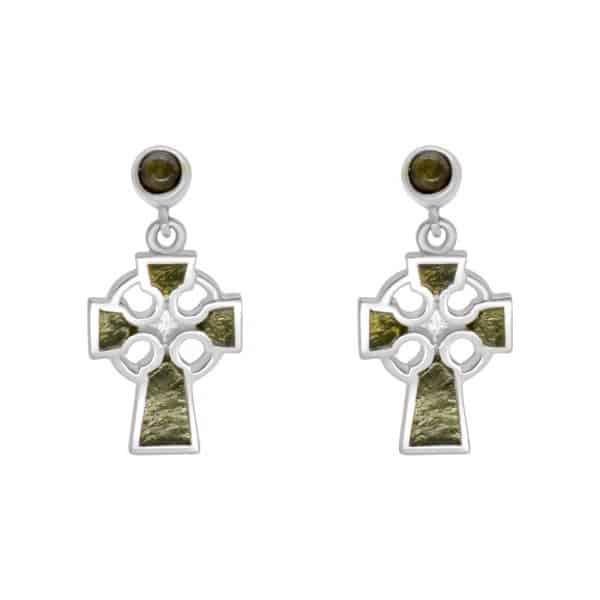 Irish Celtic Cross Earrings - Sterling Silver and Connemara Marble