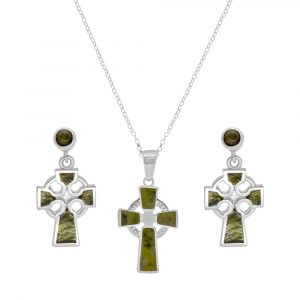 Irish Celtic Cross Pendant with earrings - Sterling Silver and Connemara Marble