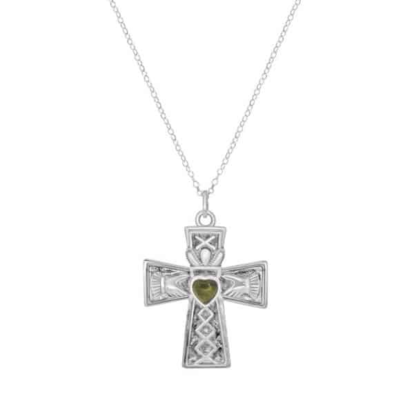 Irish Claddagh Cross Pendant - Sterling Silver and Connemara Marble