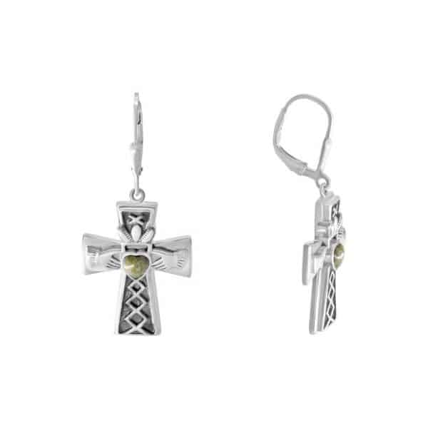 Irish Claddagh Cross Earrings - Sterling Silver and Connemara Marble