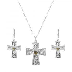 Irish Claddagh Cross Pendant with Earrings