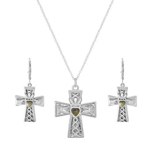 Claddagh Cross Pendant with Earrings