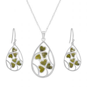 Inlaid Shamrock Silver Pendant and Earrings Sterling Silver and Connemara marble