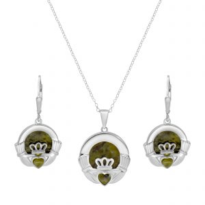 Irish Claddagh Silver Pendant & Earrings - Sterling Silver and Connemara marble
