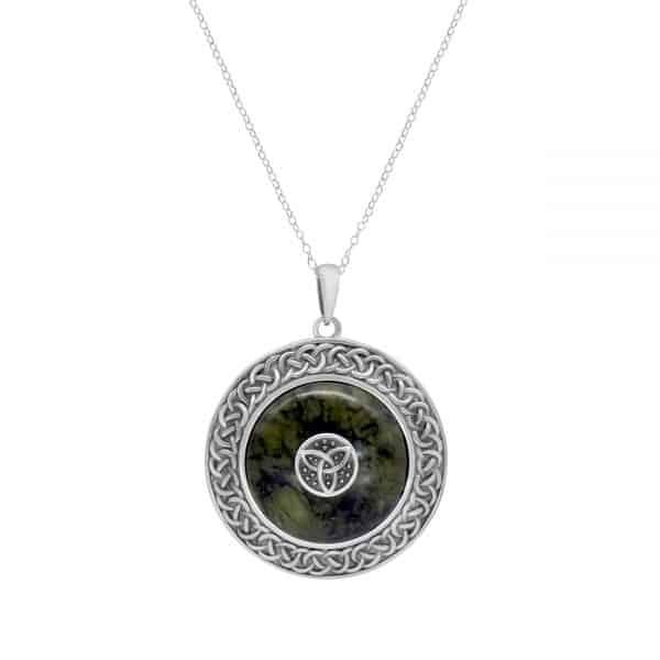 Irish Trinity Knot Shield Pendant - Sterling Silver and Connemara marble