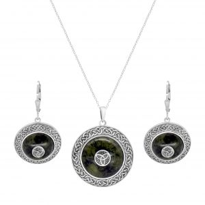 Irish Trinity Knot Shield Pendant & Earrings - Sterling Silver and Connemara marble