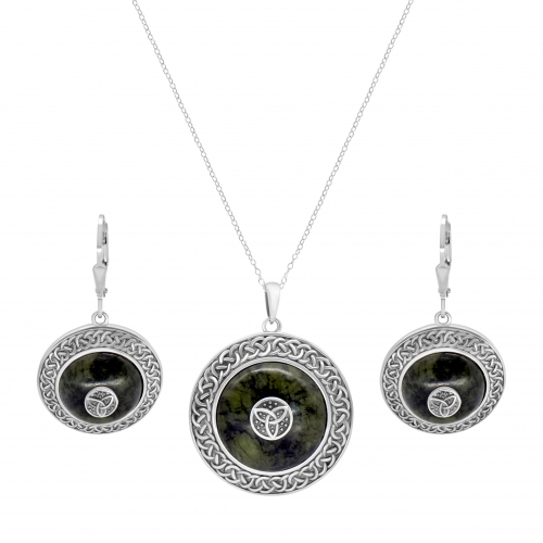Trinity Knot Shield Pendant and Earrings