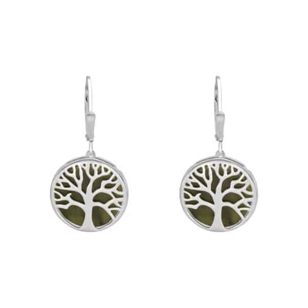 Irish Tree of Life Earrings -Sterling Silver and Connemara marble