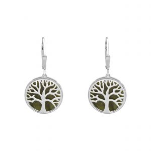 Tree of LIfe Earrings - Connemara marble and Sterling Silver Irish Jewellery