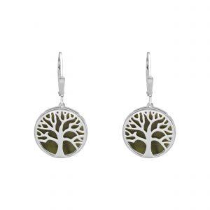Tree of LIfe Earrings - Connemara marble and Sterling Silver Irish Jewellery