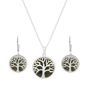 Irish Tree of Life Pendant with earrings -Sterling Silver and Connemara marble