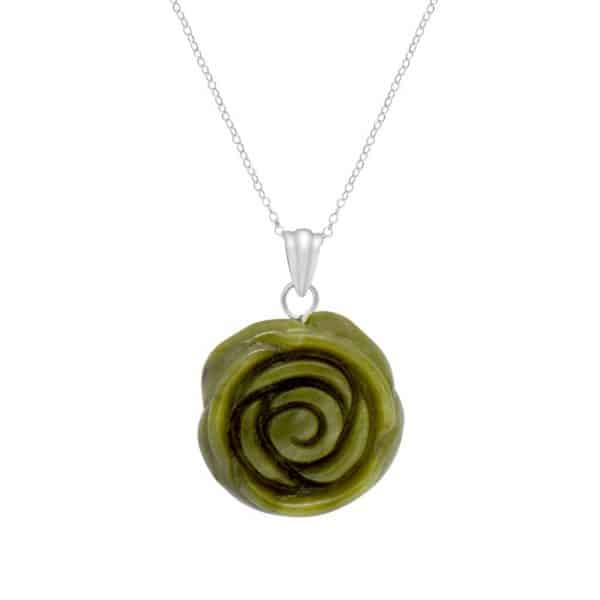 Irish Rose Silver Pendant - Sterling Silver and Connemara marble