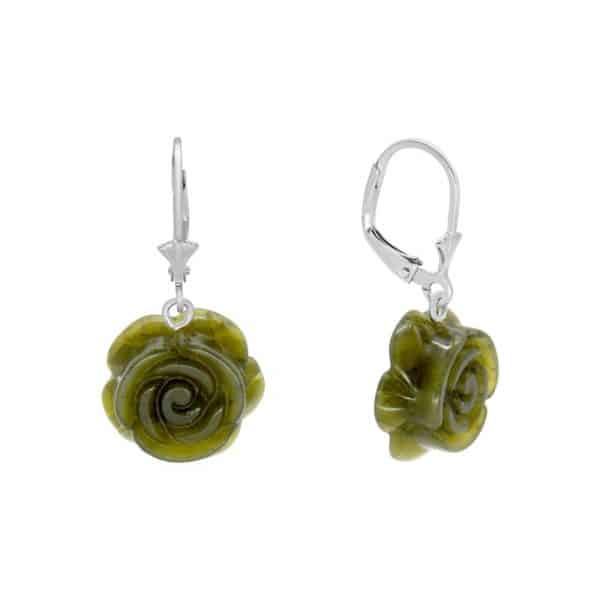 Irish Rose Silver Earrings - Sterling Silver and Connemara marble
