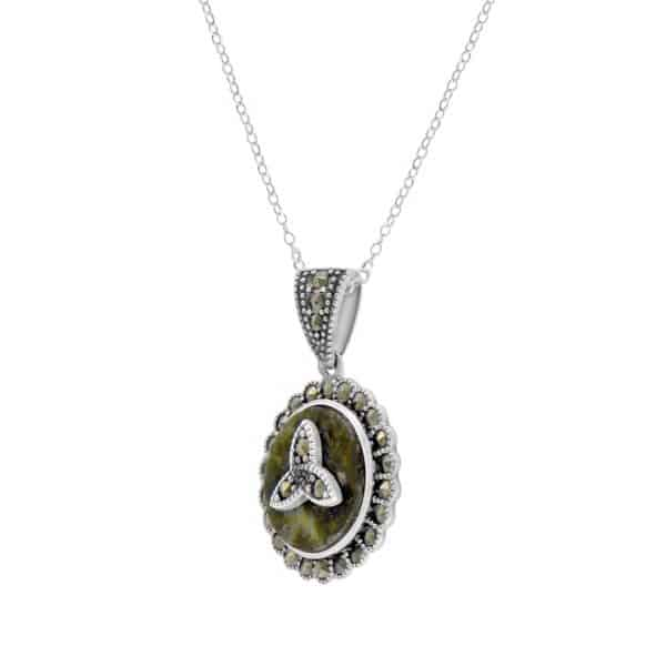 Marcasite Trinity Silver Pendant- Sterling Silver and Connemara marble
