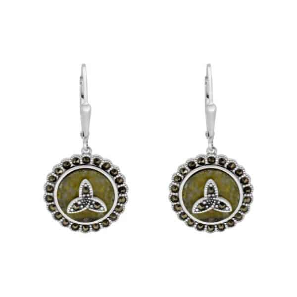 Marcasite Trinity Silver & Earrings - Sterling Silver and Connemara marble