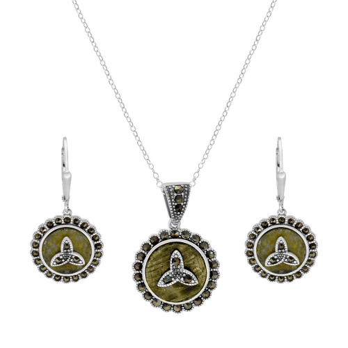 Marcasite Trinity Silver Pendant with Earrings