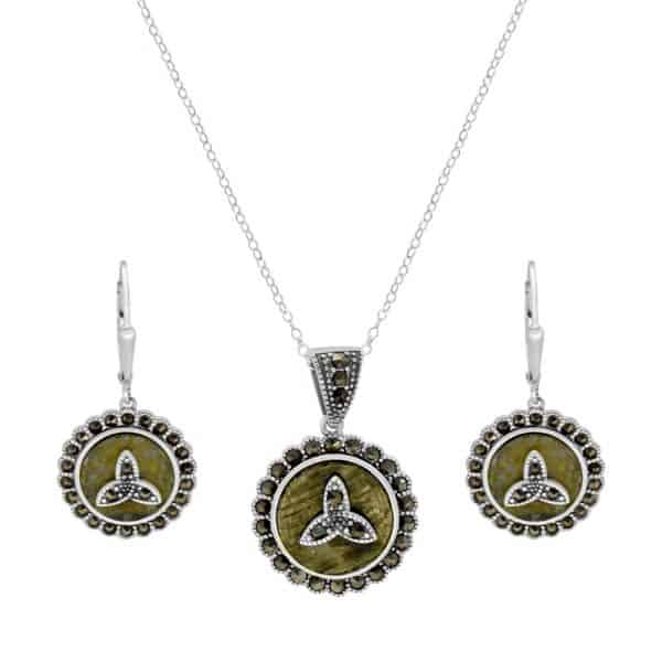 Marcasite Trinity Silver Pendant & Earrings - Sterling Silver and Connemara marble