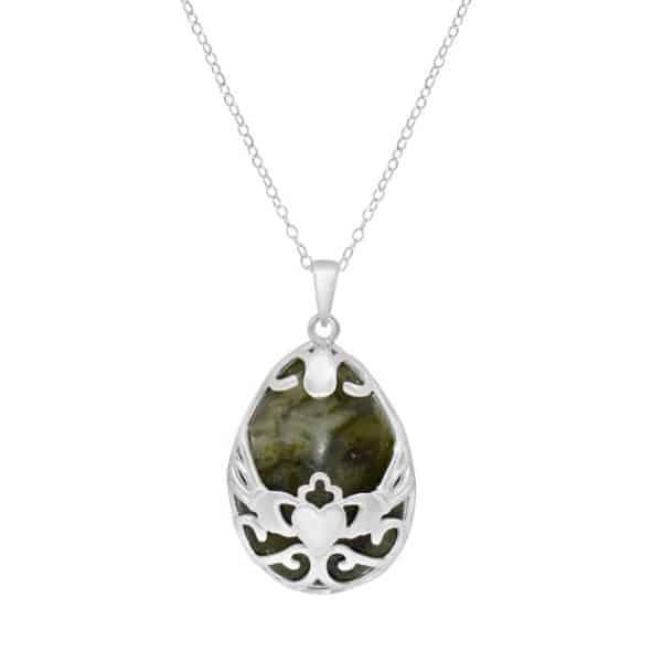 Irish Basket Pendant- Sterling Silver and Connemara marble