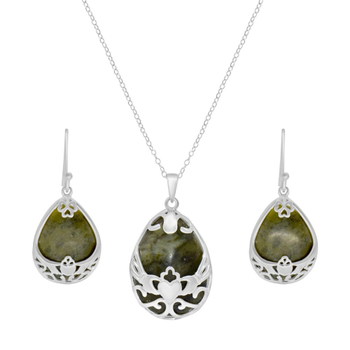 Claddagh Basket Silver Pendant with earrings