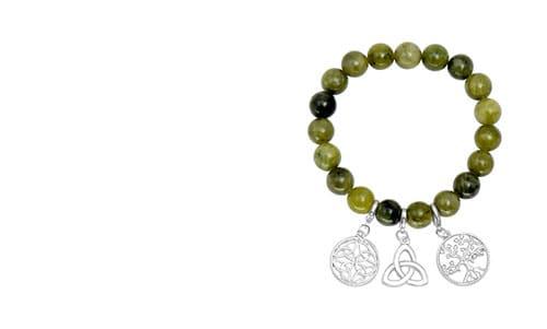 Irish Marble Braclet Celtic Symbols - Trinity Knot, Tree of Life