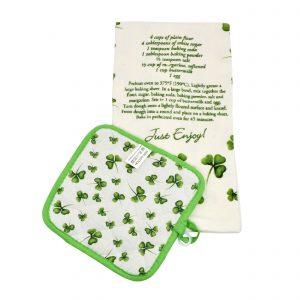 Irish Cooking Receipe - Shamrock Designed Tea Towel