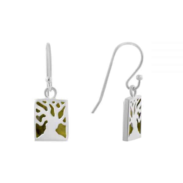 Irish Fairy Tree Earrings - Connemara Marble set into a sterling silver casing