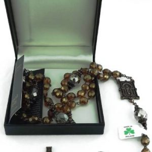 Rosary Beads from Connemara Marble with bronze components and petite crystals on the caps