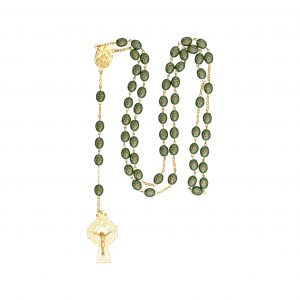 Gilt shamrock rosary with Knock water center