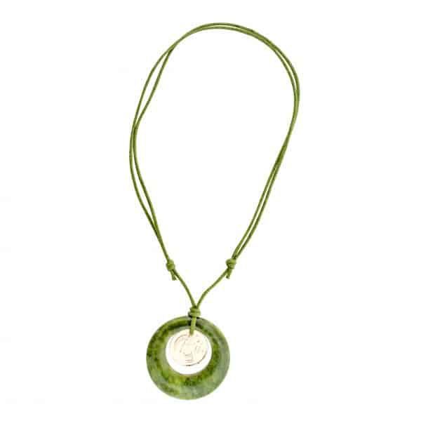 Lucky Irish Penny Connemara Marble disk Pendant