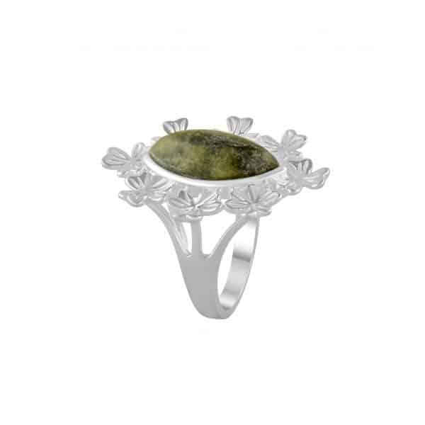Shamrock Marquise Ring Connemara Marble Handmade in Ireland