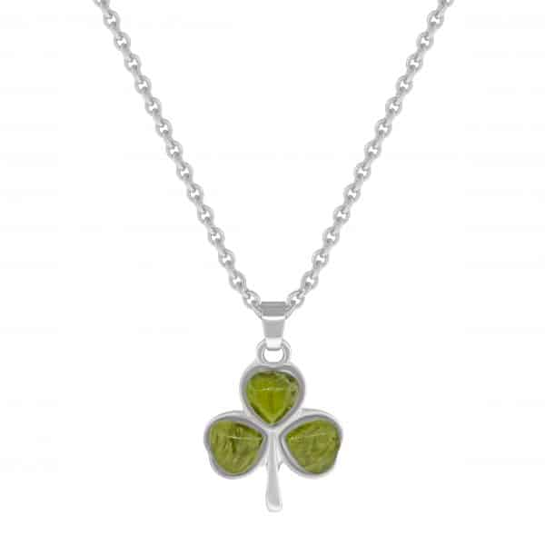 Rhodium plated Shamrock Pendant with Connemara Marble