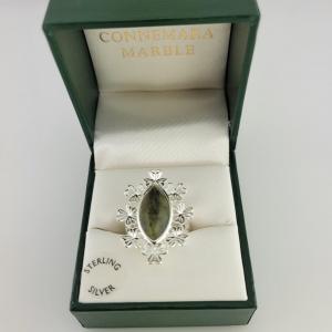 Shamrock Marquise Connemara Marble Ring