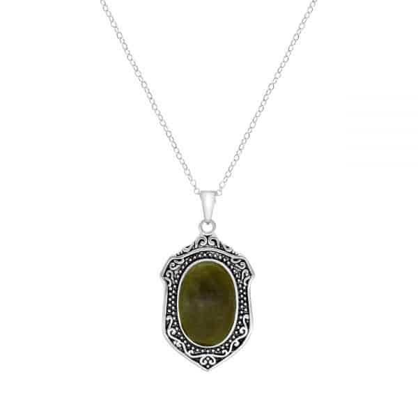 Connemara Marble Sterling Silver St Patricks Pendant