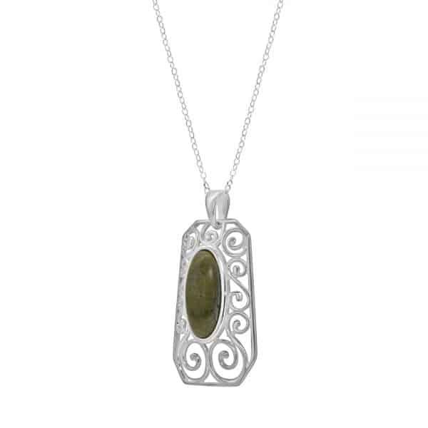 Celtic Swirl Connemara Marble Pendant handmade with Irish Sterling Silver