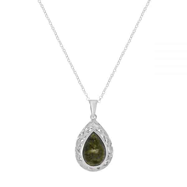 Connemara Marble Teardrop Shamrock Necklace