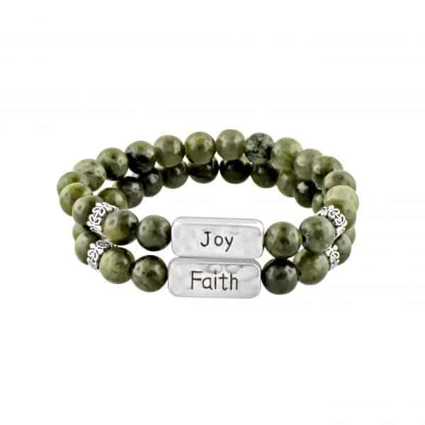 Irish Celtic Bracelets with Connemara Marble Joy & Faith Set of 2