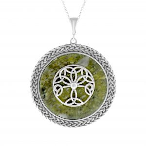 Tree of Life Pendant with Connemara Marble and Irish Sterling Silver