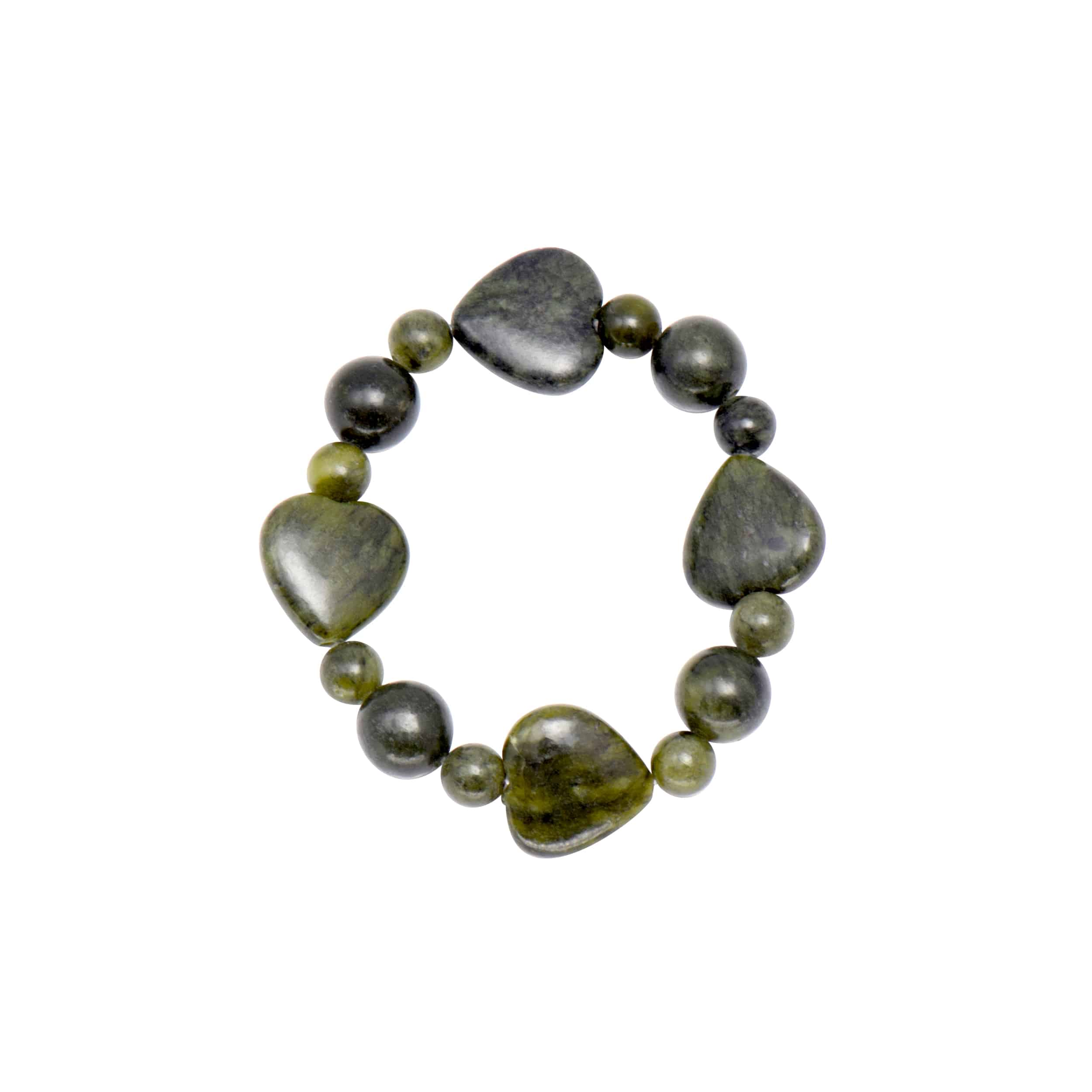 Connemara Marble Round and Heart Shaped Bracelet