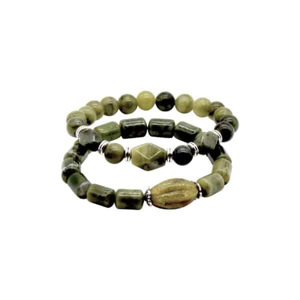 Handcarved Connemara Marble Bracelets , Set of 2.